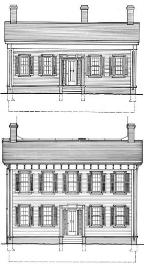 Before and after illustrations of the expansion of the Lincoln Home