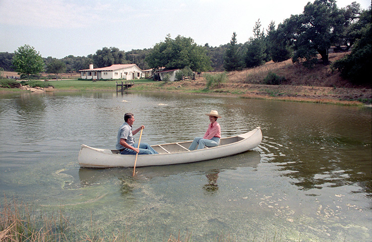 President and Mrs. Reagan in their canoe on Lake Lucky