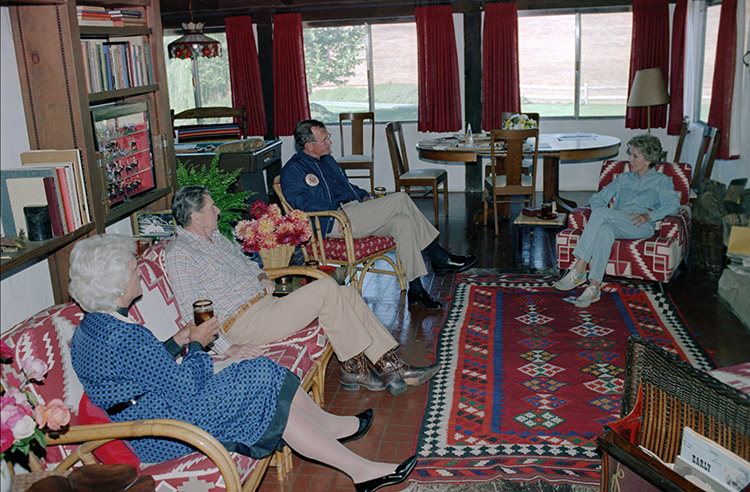 Vaulted front room at Rancho del Cielo: The Reagans and the Bushes chat