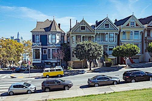 Painted Lady homes in San Francisco showing paint treatments