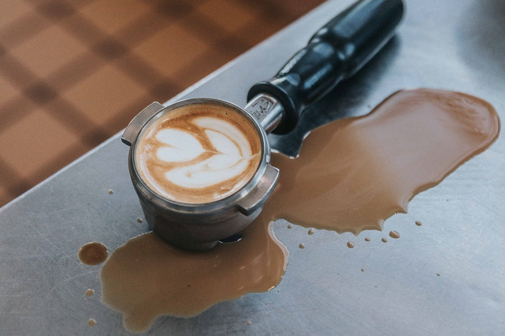 cofffee with heart on quartz countertop