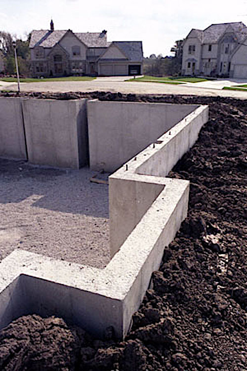 Portion of poured-concrete residential basement foundation