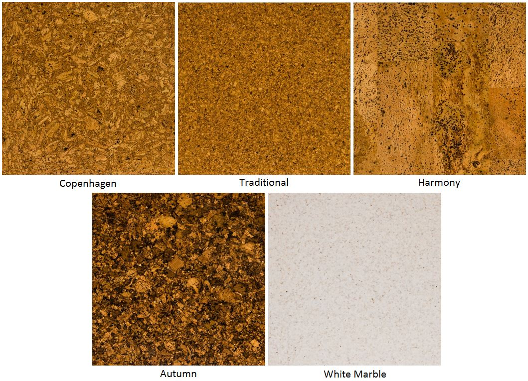 Selection of five cork flooring samples