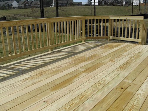 Pressure-treated wood decking