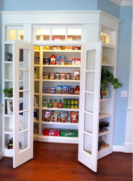 Well organized walk-in pantry