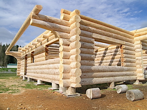 House being constructed from milled logs in notched-corner stacked style