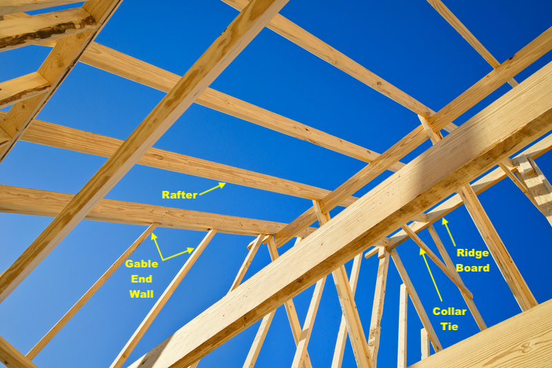 View of gable roof under construction showing dimensional lumber