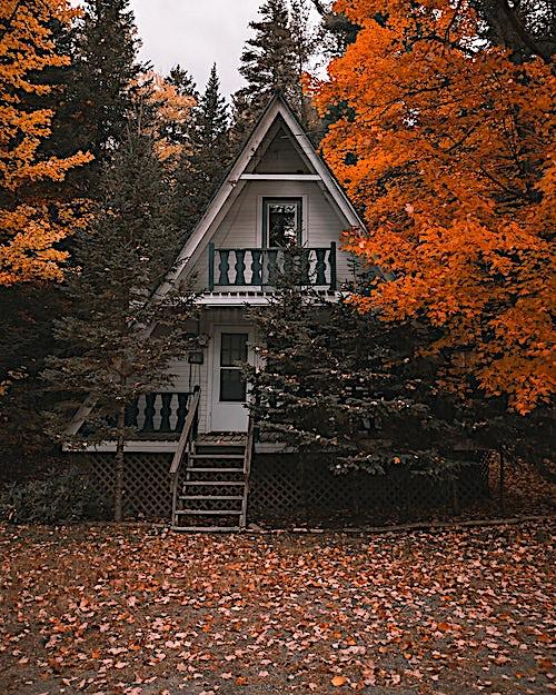 Whimsical A-frame house among colorful foliage