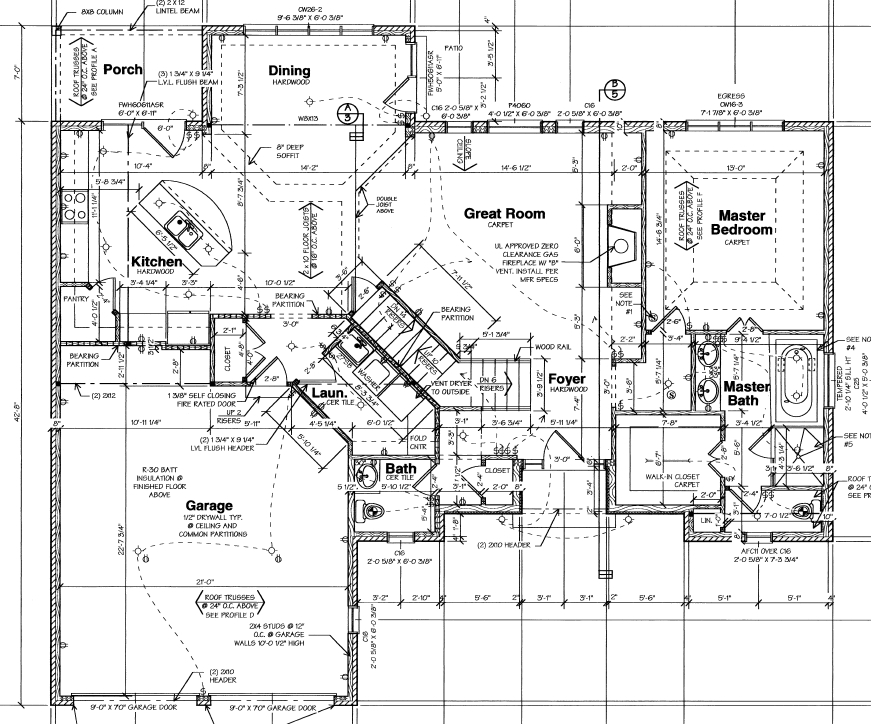 Sample of blueprints to build a house - floor plans with details