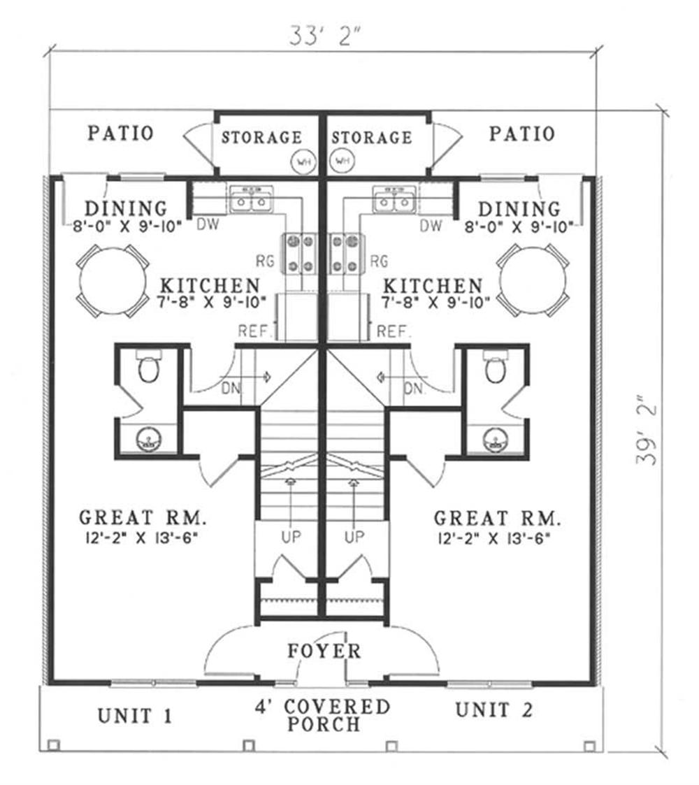 Main level floor plan of duplex House Plan #153-1385