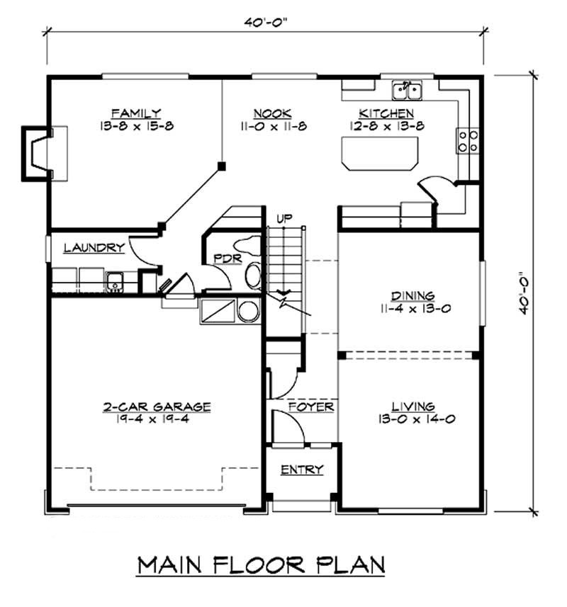 Main floor plan of bilevel plan #115-1025