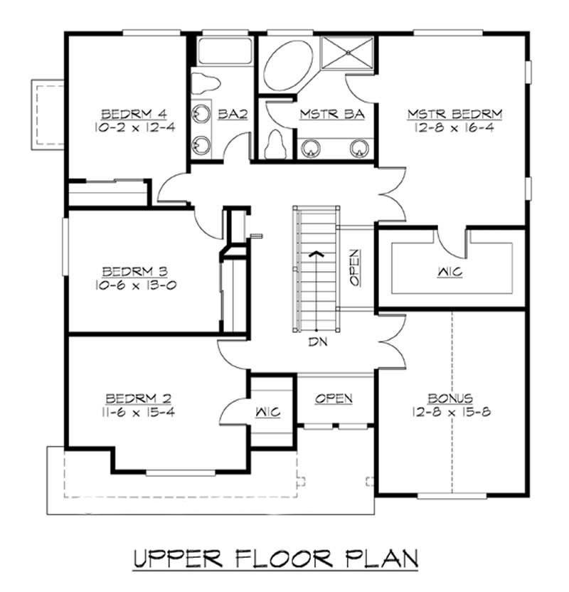 Upper level floor plan of plan #115-1025