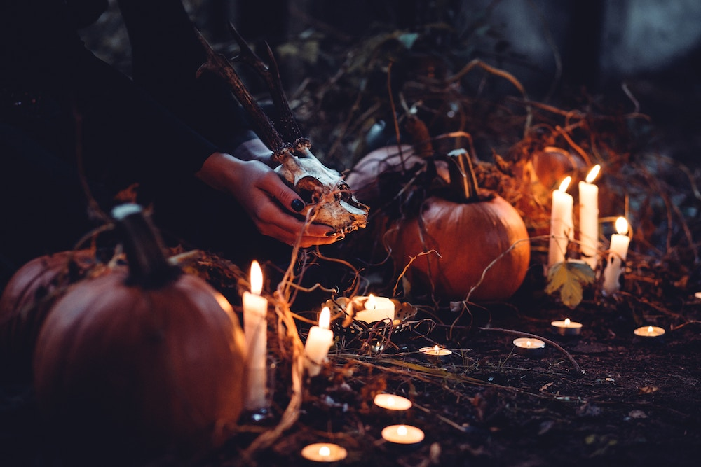 Pumpkins, tea lights, and candles for Halloween decorating