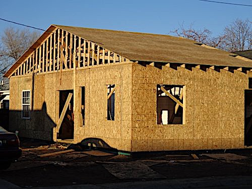 House being framing and sheathed