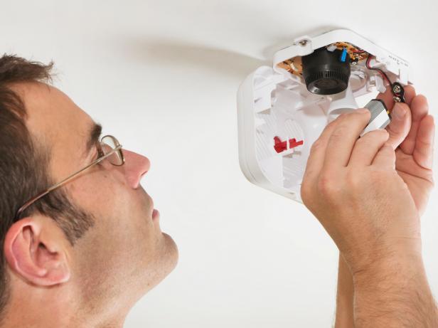 Checking a smoke detector