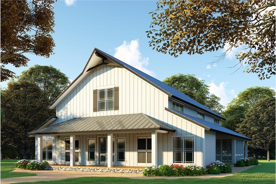 Transitional Farmhouse with wide covered porch, typical of Lowcountry homes