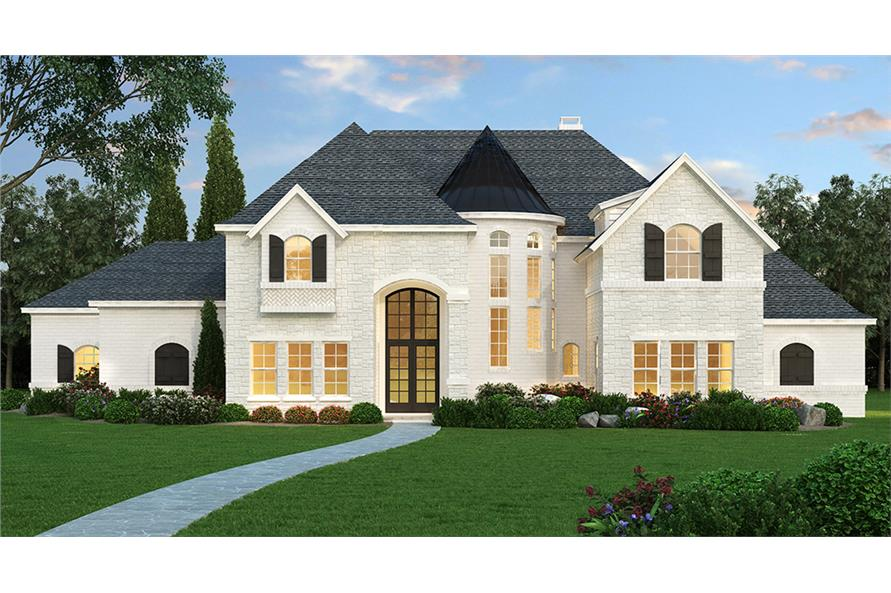 Modern Georgian style home with gable roof, symmetrical elements, shutters, and dramatic front door