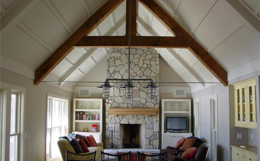 High vaulted ceiling in Great Room, a feature often seen in Lowcountry homes