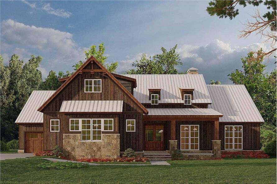 Attractive Farmhouse style home with natural wood siding and timber accents