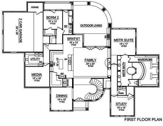 Main floor plan of Georgian style Plan #195-1160