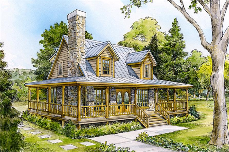 Cottage home with stone chimney and wrap-around porch