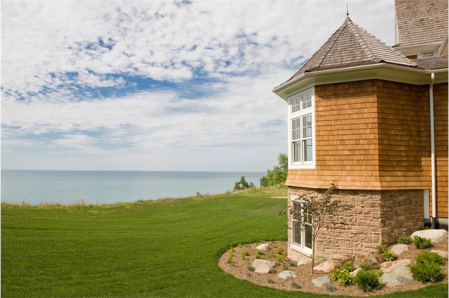 View of the ocean from turret of Shingle style home