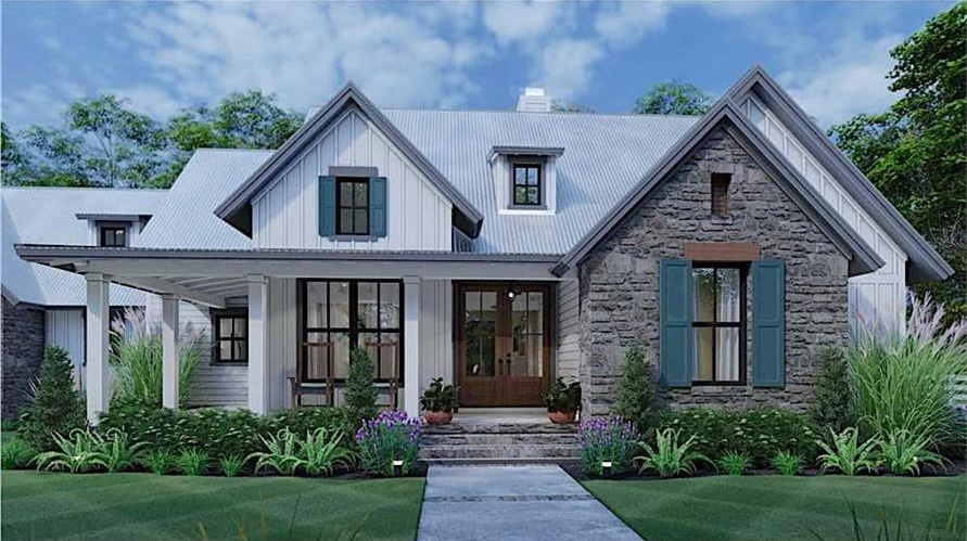Alluring Farmhouse style home with beautiful multi-pane windows, forward-facing gable roof over the front porch, and stone facade