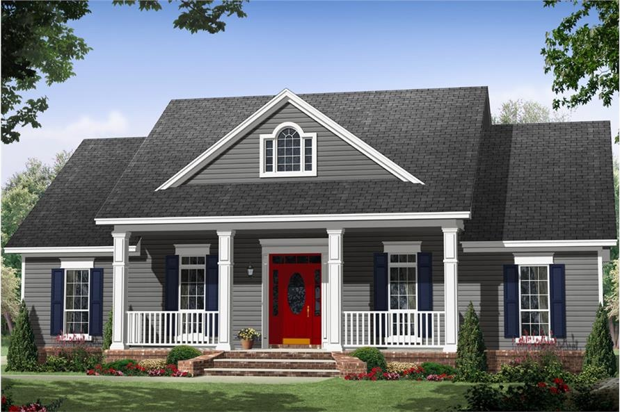 Country Cottage  with a farmhouse vibe  in gray with white trim and a red entry door
