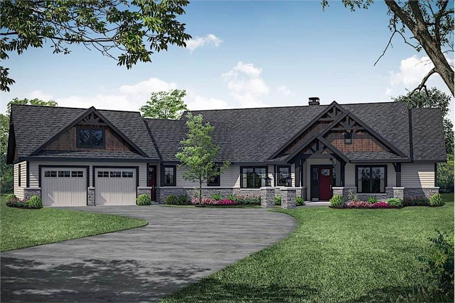 Attractive Rustic Ranch with shingle and clapboard siding, plus stone and timber accents