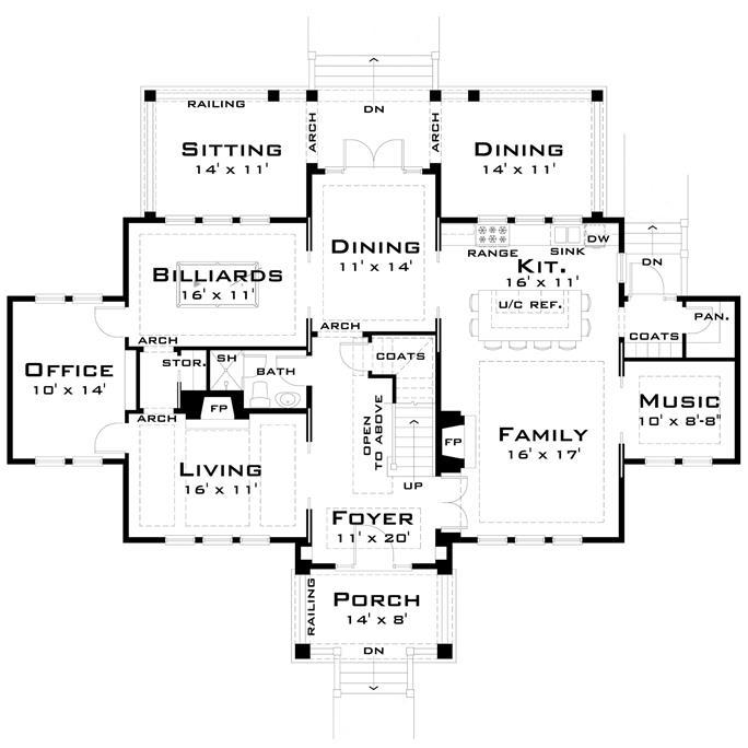 Main level floor plan of Plan #116-1099