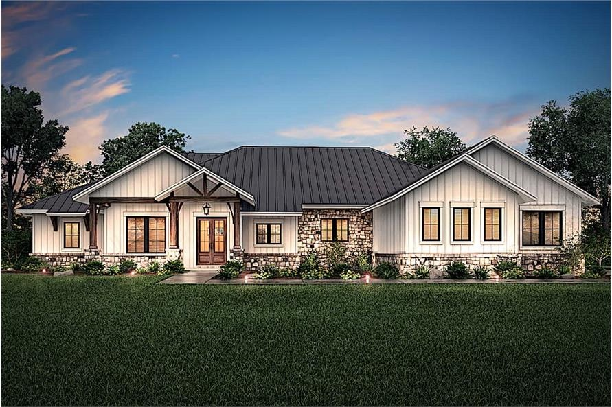 Contemporary Ranch style home with vertical siding, metal roof, and stone siding accents