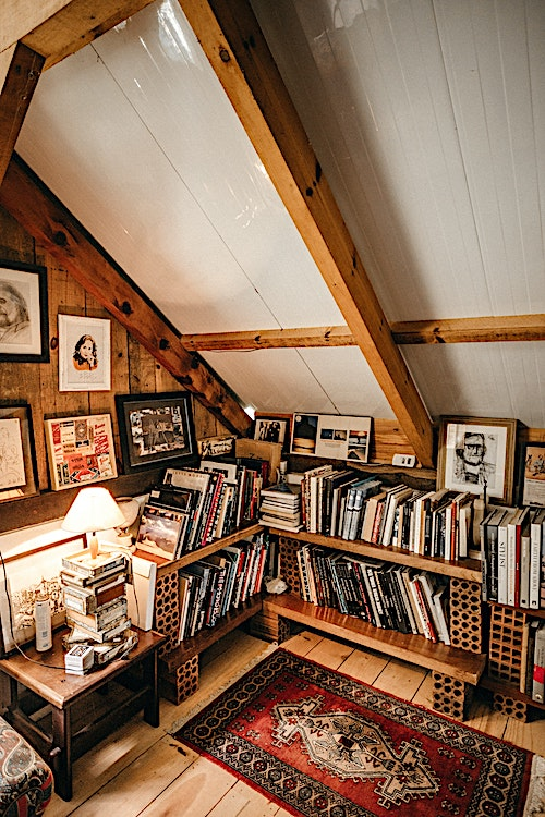 Loft area with bookshelves