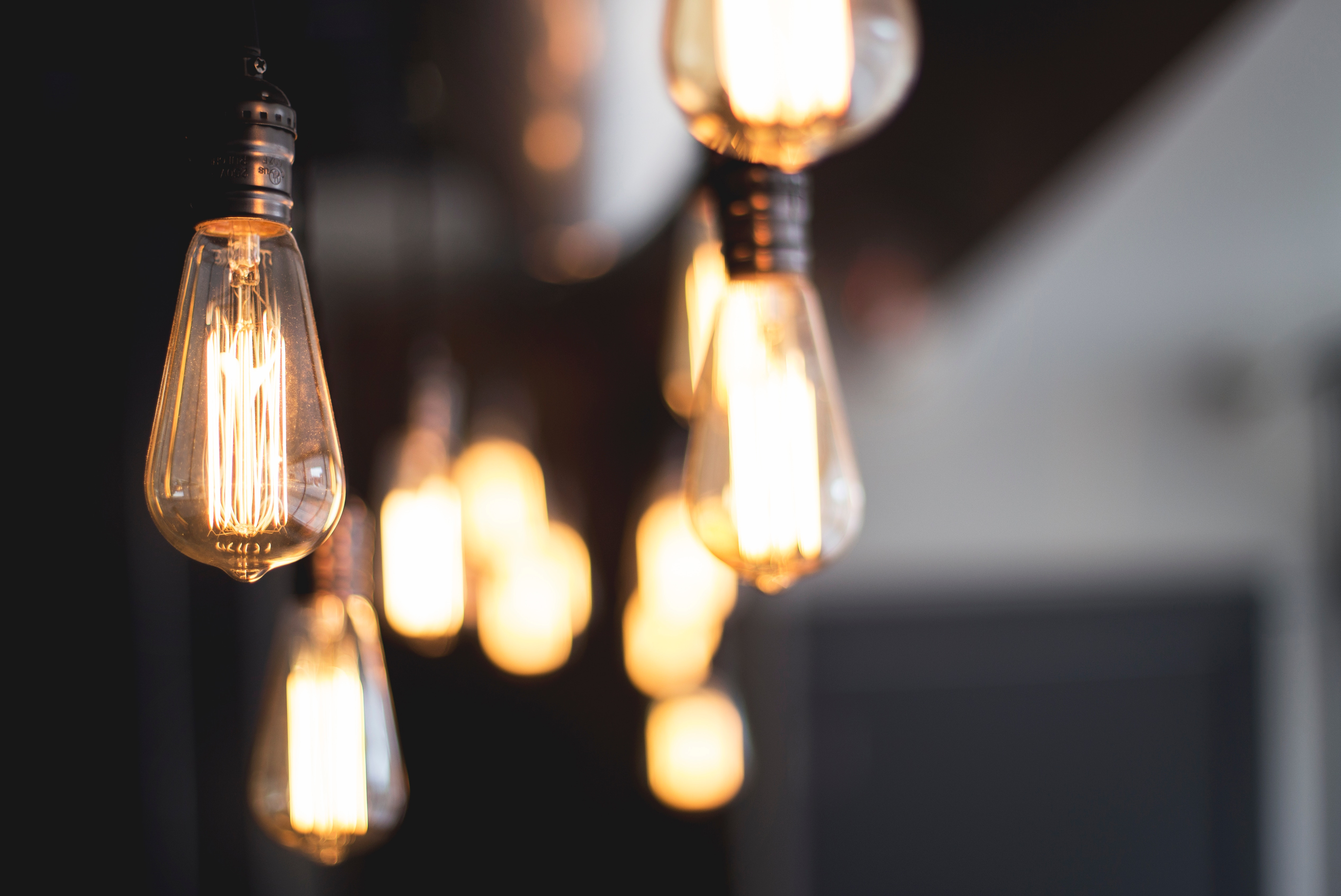 Incandescent light bulbs create an artistic tableau