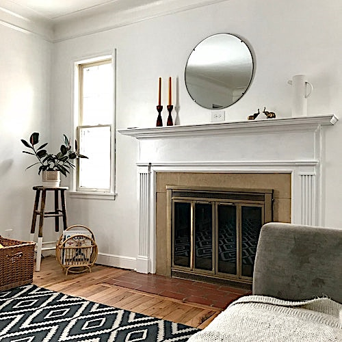 Formal fireplace in a living room