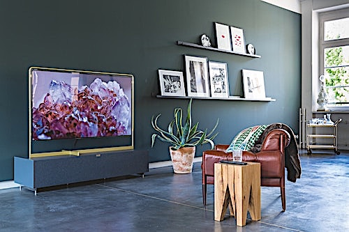 Wall-mounted TV in a contemporary family room