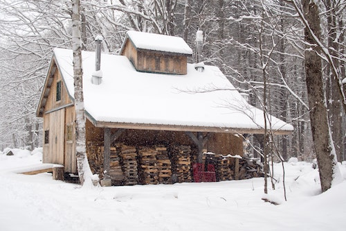 Wood-sided house in the woods with firewood shed and snow on the roof