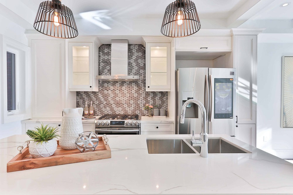 modern kitchen with quartz countertops with veining