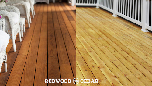 Comparison of redwood and cedar decking