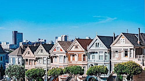Colorful row houses in San Francisco