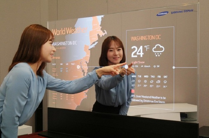 Woman pointing at smart mirror