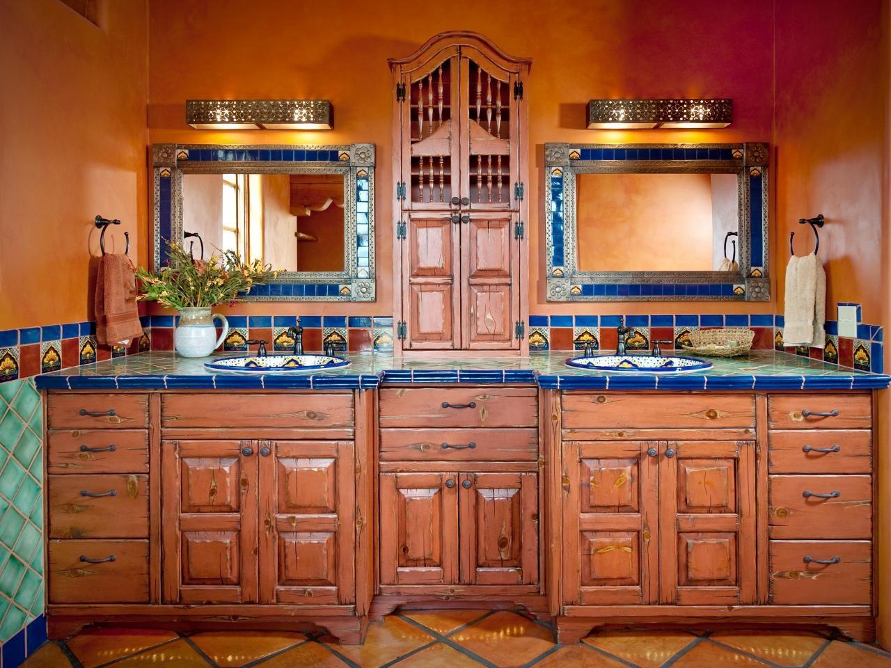 Mexican/Southwest theme bath decor