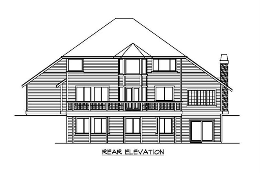 Home Plan Rear Elevation of this 5-Bedroom,4080 Sq Ft Plan -115-1257